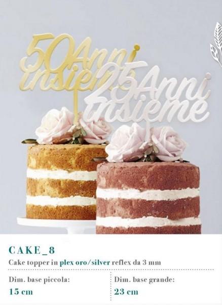 Cake topper in plexiglass oro o silver reflex, MM 3
