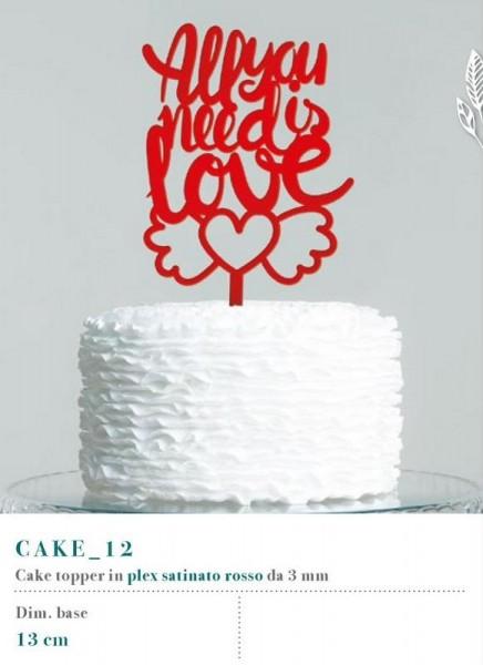 Cake topper in plexiglass rosso, MM 3. Base CM 13