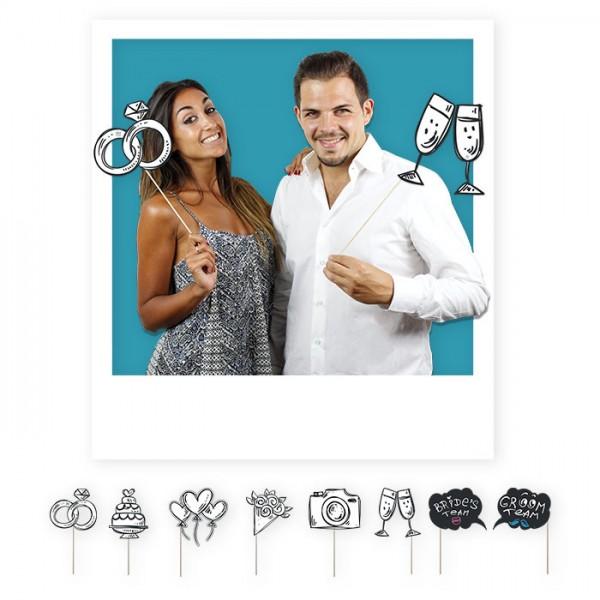 Set 8 accessori per photo booth in cartoncino. CM 20