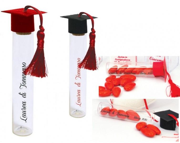 Provetta in vetro con tappo tocco carta, rosso o nero e nappa con scritta personalizzata. H 15