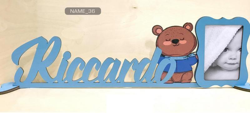 Scritta in legno colorato personalizzato con portafoto. Colore e scritta a scelta. Lunghezza MAX 55 CM H 15